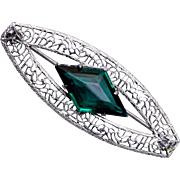 Silver Filigree and Green Stone Brooch