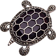 Sterling Marcasite and Purple Stone Turtle Brooch or Pendant
