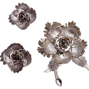 Warner Day/Night Flower Brooch and Earring Set