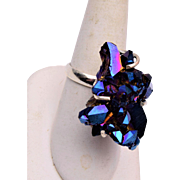 Druzy and Sterling Ring Size 9-1/4