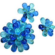 West Germany Shades of Blue Brooch and Earring Set