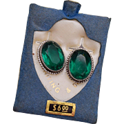 Whiting and Davis Green Rhinestone Earrings