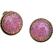 Whiting and Davis Faux Opal Earrings