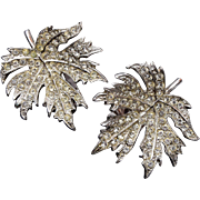 Ora Pave' Set Rhinestone Leaf Earrings