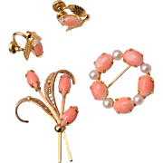 Sorrento Gold Filled Coral and Real Pearl Brooch and Earring Set
