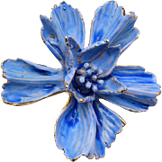 Van S. Authentics Enameled Blue Flower Brooch or Pendant