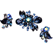 Blue Molded Glass Brooch and Earring Set