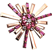 Phyllis Gold Filled Pink Rhinestone Brooch or Pendant