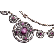 Purple Necklace with Art Glass Center