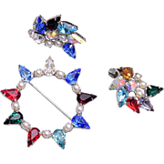 B. David Colorful Brooch and Earring Set