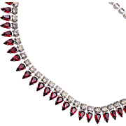 B. David Red and Clear Rhinestone Necklace
