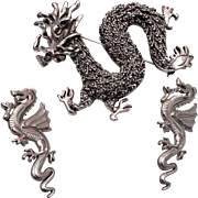 Dragon Brooch and Pierced Earrings