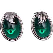Whiting and Davis Green Glass Earrings