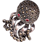 Sterling Silver and Marcasite Face Brooch