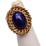 Miriam Haskell Blue and Gold Adjustable Ring