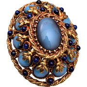 HAR Blue Domed Brooch