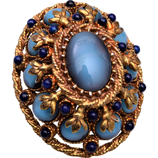 HAR Blue Domed Brooch