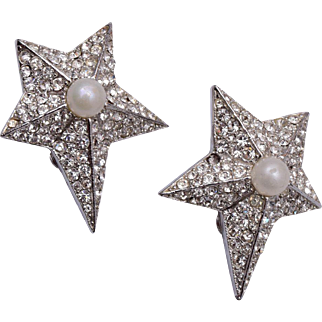 Weiss Star and Faux Pearl Earrings