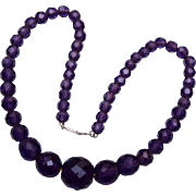 Amethyst Necklace Strung on Chain With Unusual Clasp