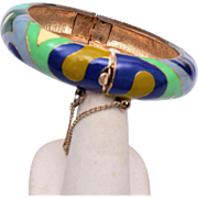 Eisenberg Enamel Hinged Bangle Bracelet