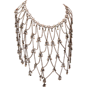 Dramatic Bib Style Silver Tone Necklace