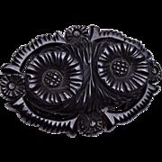 Black Bakelite Brooch - Pristine Condition