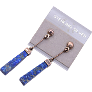 Sterling Silver and Lapis Pierced Earrings