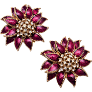 Ciner Red Enamel Flower Earrings with Rhinestone Centers