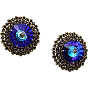 Weiss Blue Rivoli Crystal Earrings