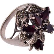 Sterling, Garnet and Marcasite Ring Size 8
