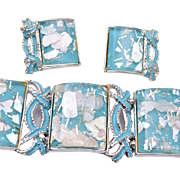 PAM Blue Thermoset Bracelet and Earring Set