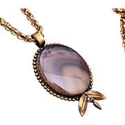 "Agate Pendant Necklace 24"" Chain"
