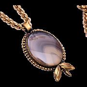 "Agate Pendant Necklace 24"" Chain"