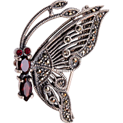 Sterling Articulated Butterfly Brooch with Marcasites and Garnets