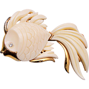Monet Molded Plastic Fish Brooch