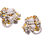 Robert White Glass and Rhinestone Earrings
