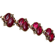 Red Thermoset and Faux Pearl Bracelet