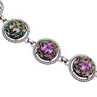 Sarah Coventry Molded Carnival Glass Bracelet
