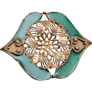 Elle Green Enamel Brooch