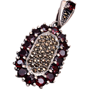 Sterling, Marcasite and Garnet Pendant