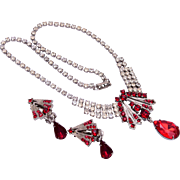Red Rhinestone Necklace and Earring Set