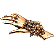 Hand Brooch with Gold AB Rhinestones and Ring