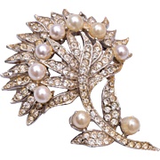 Ledo Rhinestone and Faux Pear Brooch