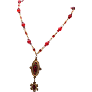 Hobe' Red Glass Necklace and Pendant