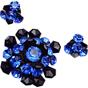 Blue Rhinestone and Black Crystal Brooch and Earring Set