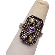 Sterling and Marcasite Ring With Colored Stones Size 8