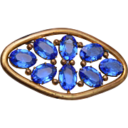 Blue Open Backed Rhinestone Brooch