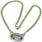 Light Green Crystal and Filigree Necklace