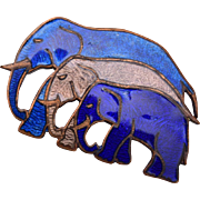 3 Blue Enameled Elephant Brooch