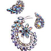 Sherman Blue AB Rhinestone Brooch and Earring Set